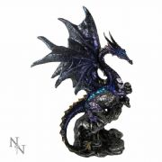 Dark Dragon Holding Skull Figurine